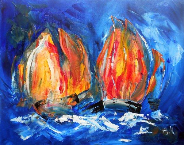 """Tableau bateaux voiliers """"Flammes de voiles"""" - peintures-axelle-bosler"""