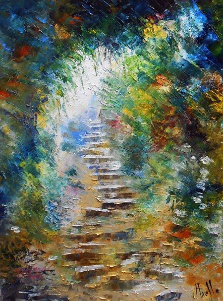"""Tableau paysage escaliers """"Les Marches du bonheur"""" - peintures-axelle-bosler"""