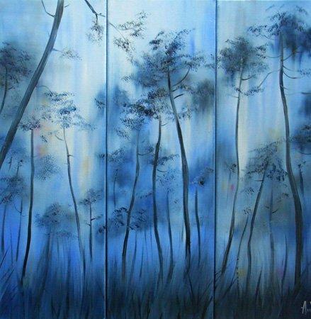 Brume dans la forêt des Landes