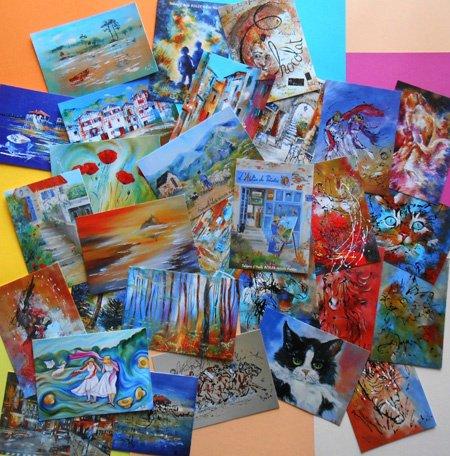 """Lot de 10 Cartes postales au choix SANS enveloppe""""Les Tableaux d'Axelle BOSLER"""""""