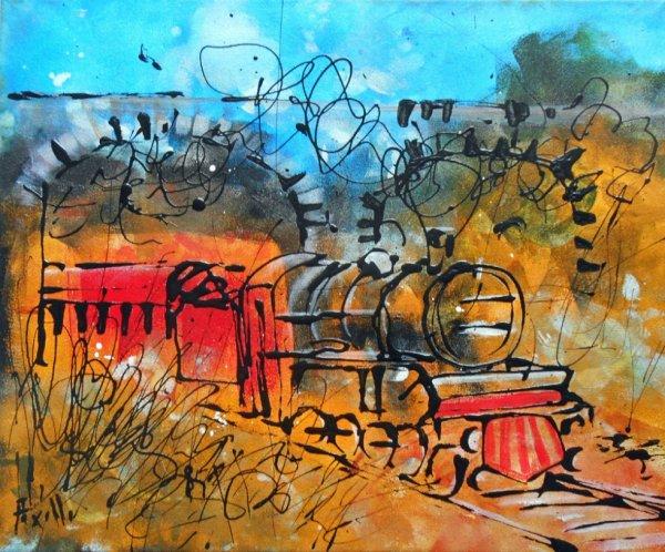 """Tableau """" Le petit train"""""""