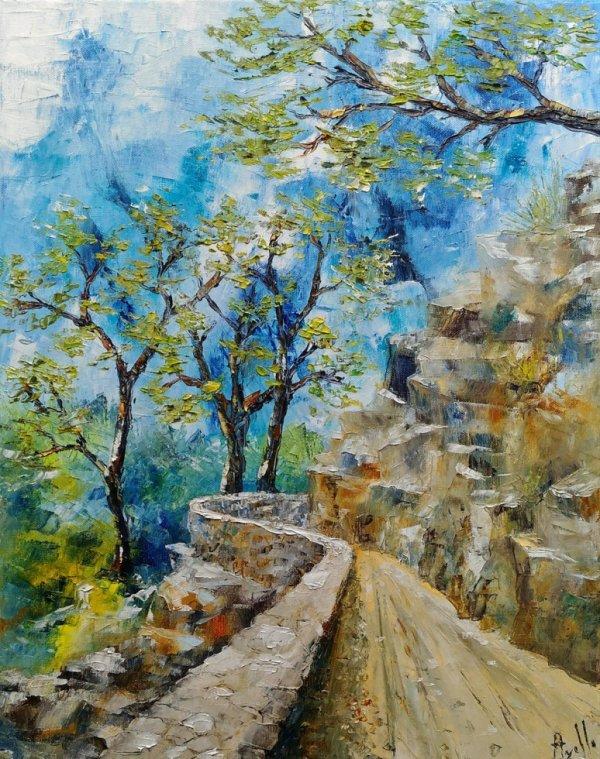 """Tableau """" Le petit chemin dans la montagne"""""""