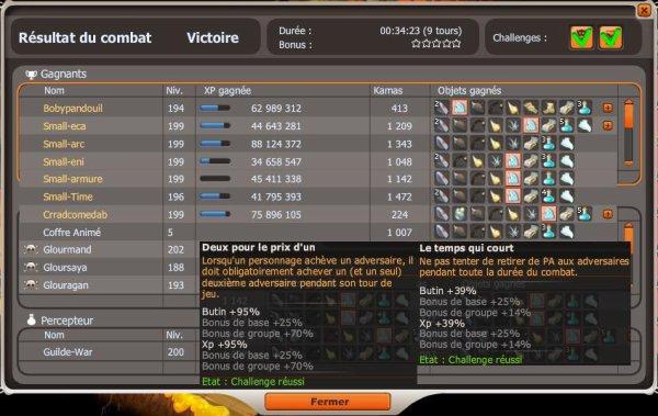 Glours chal 134% et tengu fuji chal 75% full drop avec xp doublée =)