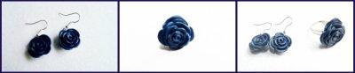 boucles d'oreilles fleur fimo (4¤) et bague (3¤)