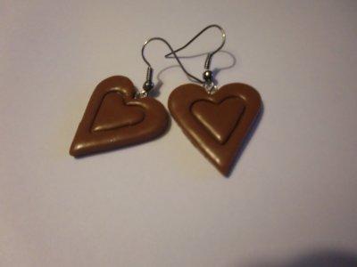 boucles d'oreilles coeur chocolat fimo (4¤)
