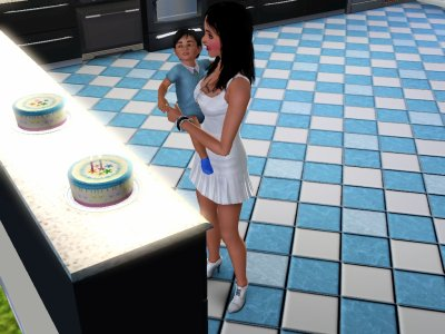 Lugia qui fête son anniversaire avec sa Maman