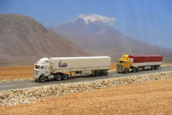 Iranian Mack Ultraliner MH613 trucks, near Mount Ararat!