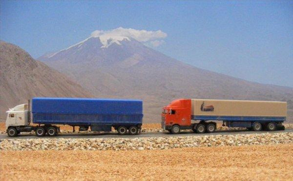 Iranian trucks, near Mount Ararat!..