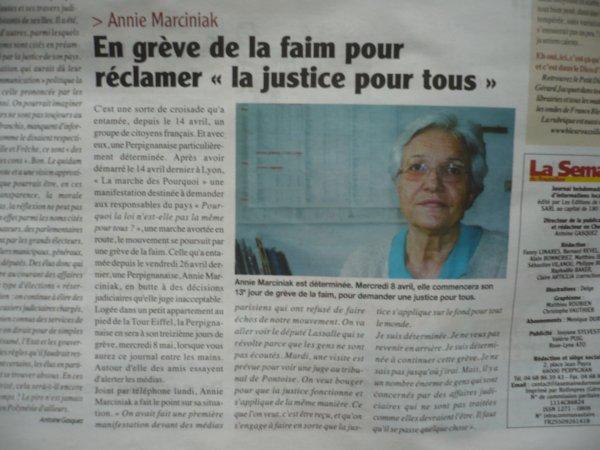 Soutien à Annie  pour sa grève de la la faim - Soutenez la en signant  la pétition pour une justice juste et vraie