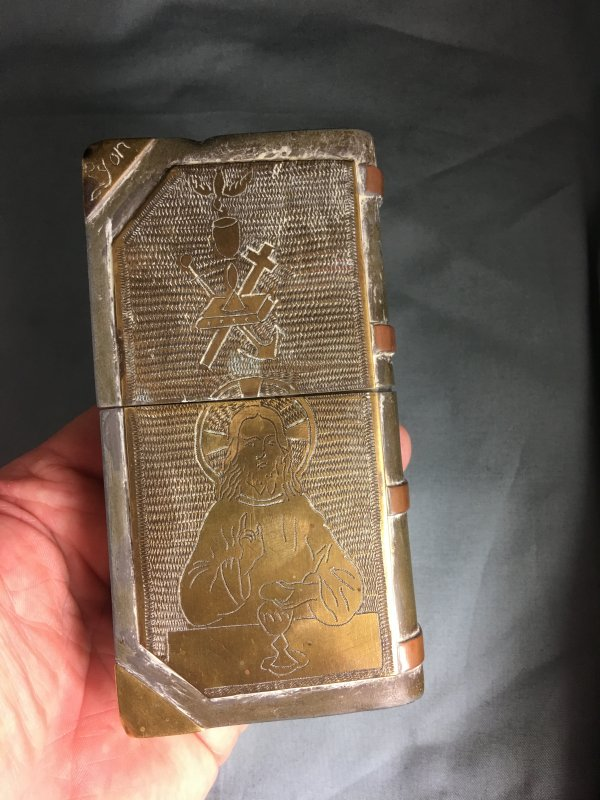 Huge WW1 Trench Art Prayer Book Lighter 1918 Lyon