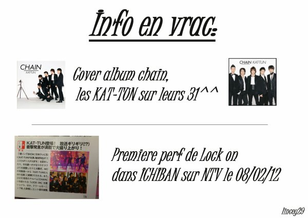 "Info: KAT-TUN Cover ""chain"" + Futur perf ""Lock on"""