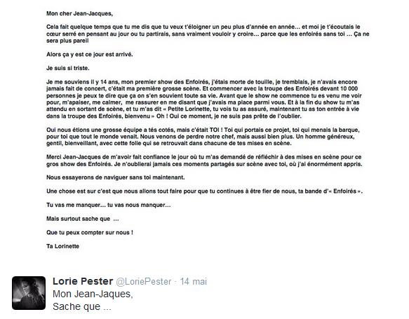 Le message de Lorie pour Jean Jaques Goldman ...
