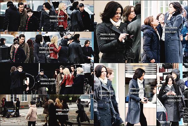 06/11/13  -  Lana était sur le set de Once Upon a Time, on peut voir que Regina est allongée par terre.