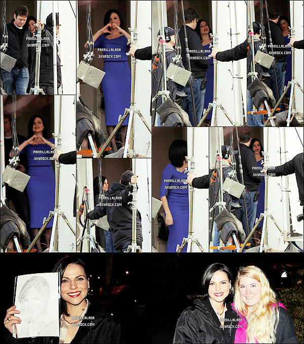 .14/02/14 - Lana faisant de jolis c½urs, le jour de la St-Valentin, sur le set de Once Upon a Time. .