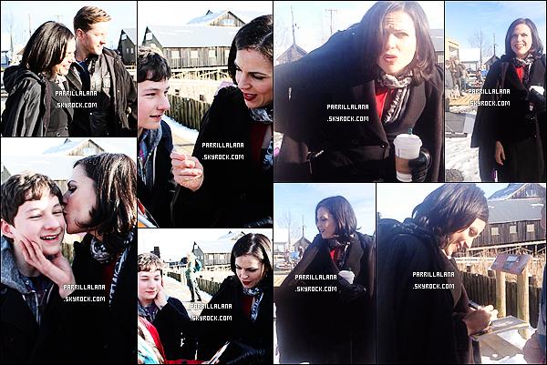 . 14/02/14 - Lana aux côtés de Josh Dallas et Jared Gilmore sur le set de OUAT, à Richmond. .
