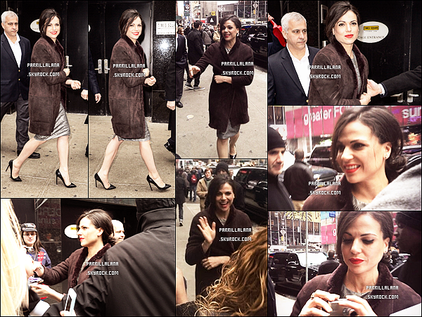 ". 07/03/14 - Notre Evil Queen arrivant devant les studios de l'émission ""Good Morning America"" !  ."