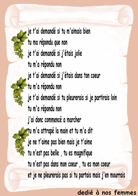 Voila Un Petit Poeme Pour Ma Liliane Et Pour Vos Femmes