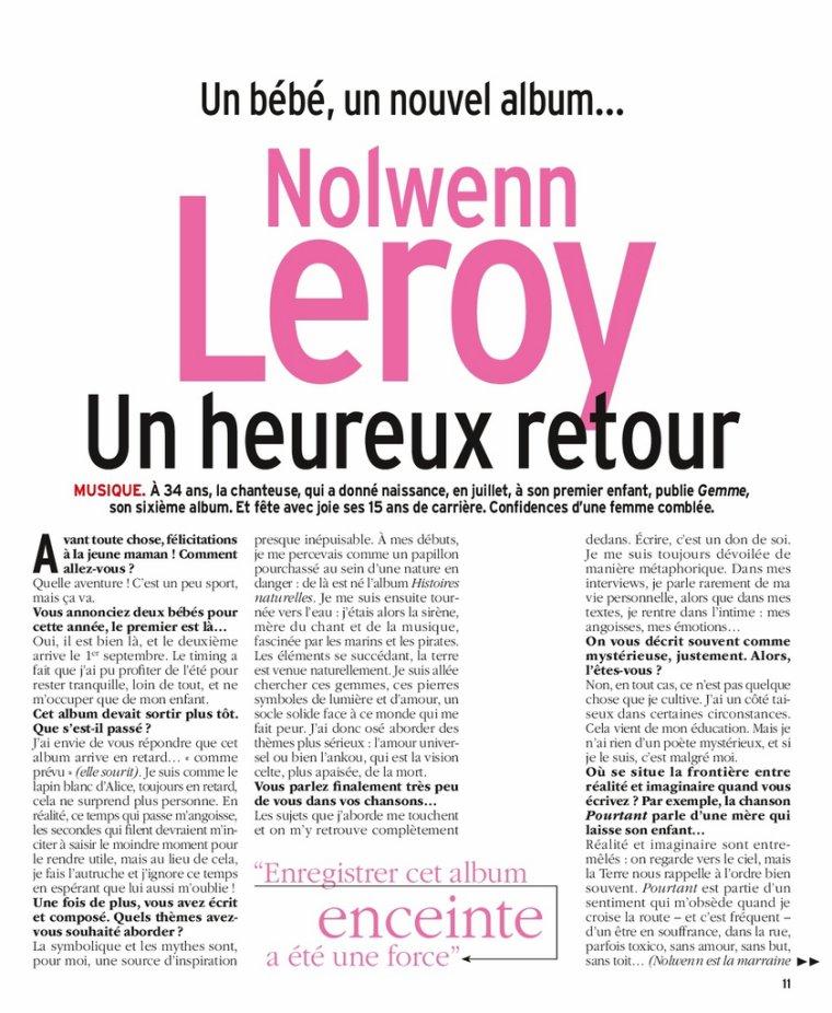 Nolwenn Leroy - Télé 7 jours 28/08/2017