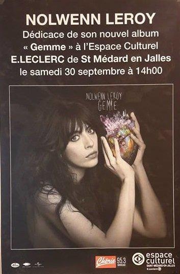 Nolwenn Leroy - Dédicaces au centre culturel E.Leclerc de Saint-Médard-en-Jalles 30/09/2017
