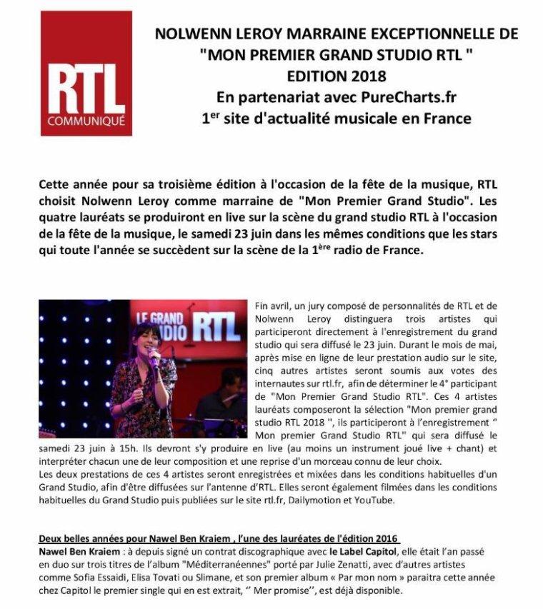 "Nolwenn Leroy - ""Mon premier Grand Studio"" - RTL 25/04/2018"