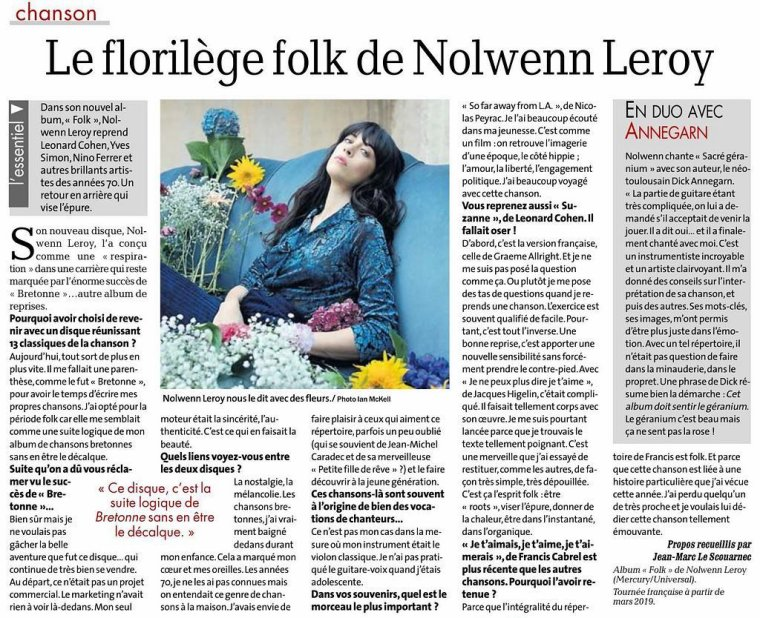 Nolwenn Leroy - La Dépêche du midi – Le florilège folk 15/01/2019
