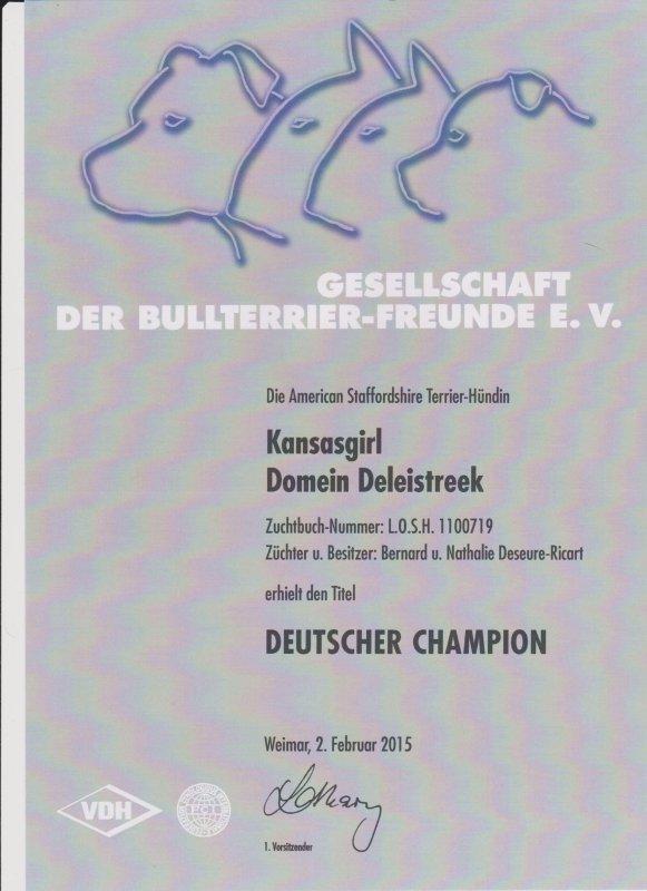 .Deutscher championVDH Kansasgirl Domein Deleiestreek