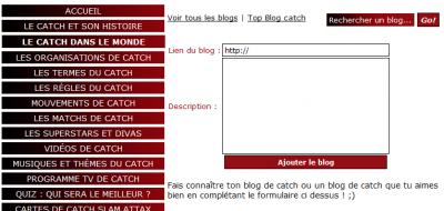 Ma section Blog sur mon site pour les blogueurs de catch ! ;)