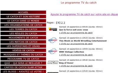 Ma section inédite Programme TV sur mon site www.catchsuperstar.com
