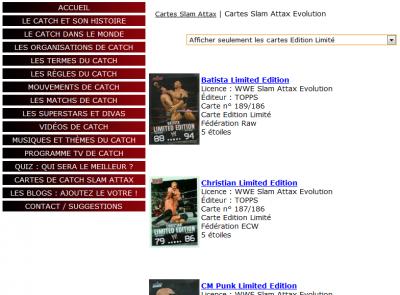 Ma section Carte Slam Attax sur mon site www.catchsuperstar.com