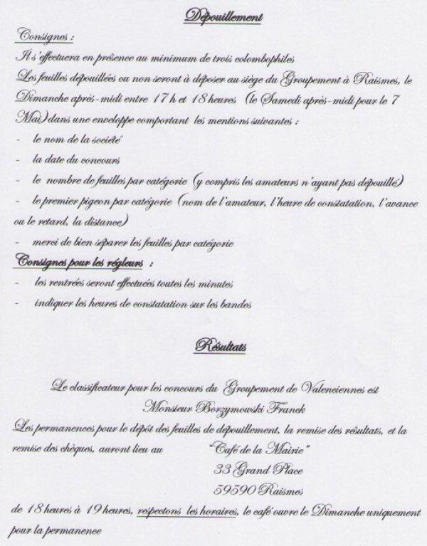 GROUPEMENT DE VALENCIENNES - INSTRUCTIONS CONCOURS 2016