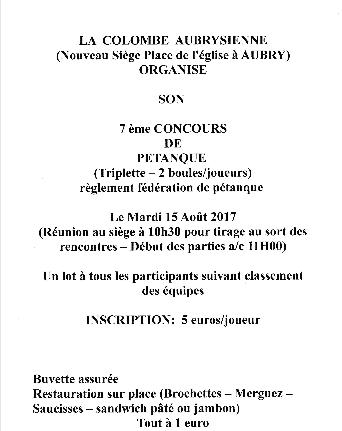 COLOMBE AUBRYSIENNE - 7ème CONCOURS DE PETANQUE MARDI 15 AOUT 2017