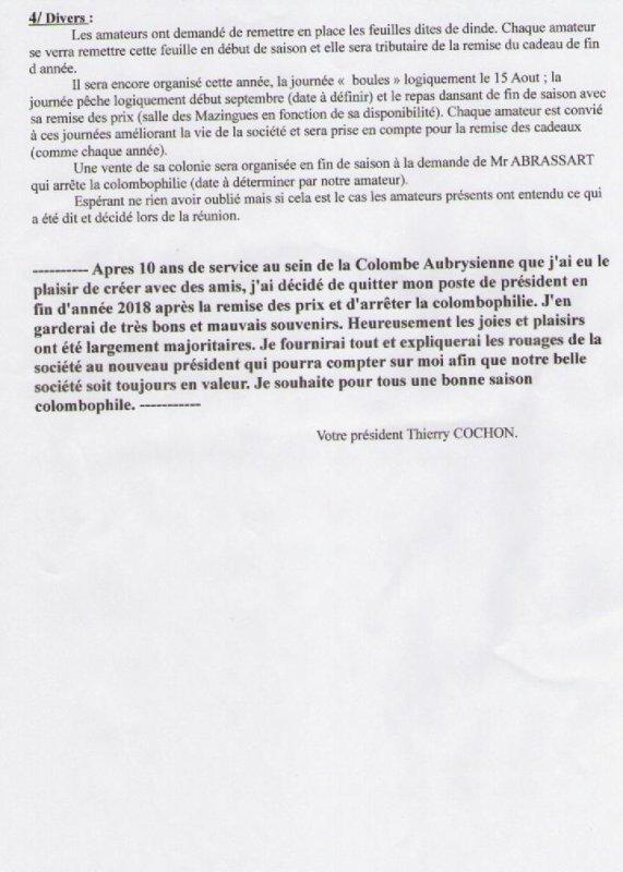 COLOMBE AUBRYSIENNE - COMPTE RENDU DE L' ASSEMBLEE GENERALE - VENDREDI 9 FEVRIER 2018
