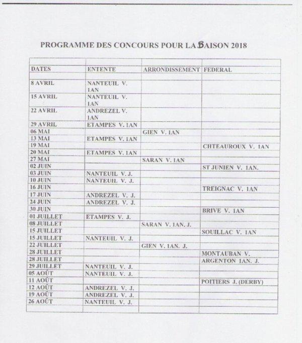COLOMBE AUBRYSIENNE -  REUNION DU 12 FEVRIER 2018 DE L' ENTENTE DU HAINAUT - PROGRAMMES