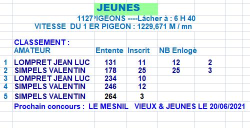 RESULTATS NANTEUIL LE HAUDOIN DU 13/06/2021 LA COLOMBE AUBRYSIENNE