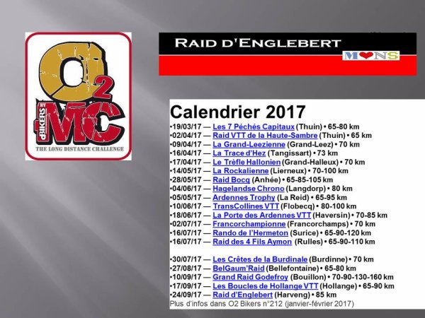 Calendrier O2MC 2017