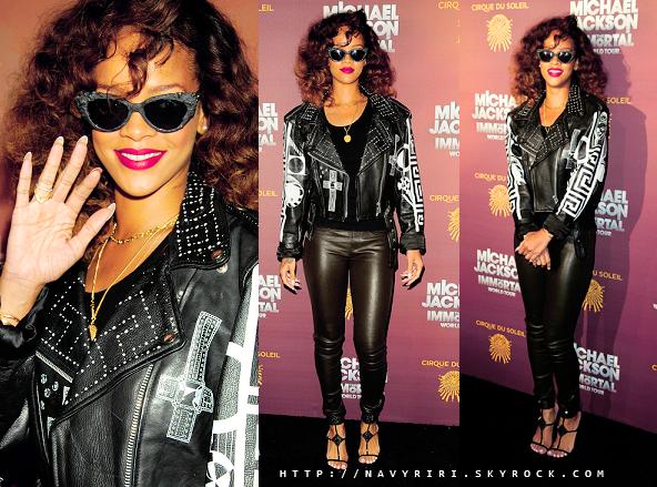 . 29/01/12 Rihanna assiste a la première du Michael Jackson Immortel Tour. Coté tenue : J'aime la veste et les chaussure mais pas le reste BOF. Ton avis sur la tenue? .
