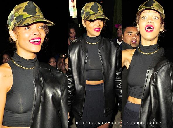 """. 29/01/12 Rihanna quitte le club """"Greystone"""" à Los Angeles.  Coté tenue : Je n'aime pas du tout la casquette la veste et le reste de la tenue, FLOP. Ton avis? ."""