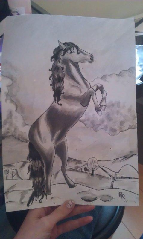 cheval encre de chine