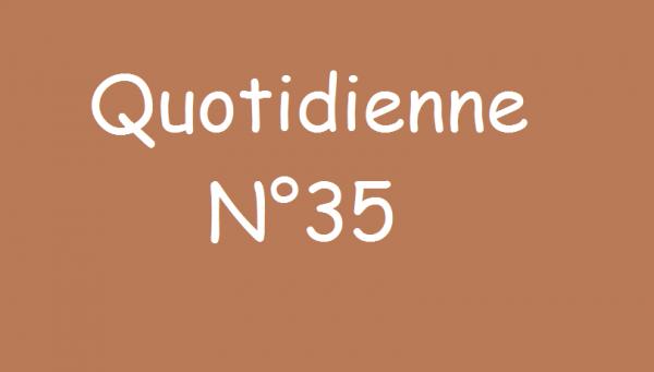 Quotidienne n°35 (partie 1)