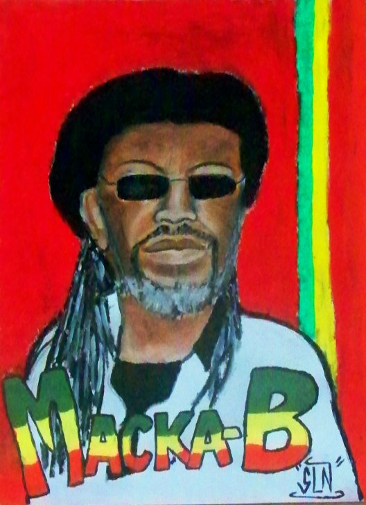 MACKA B fait au pastel.septembre 2010. Artiste Reggae
