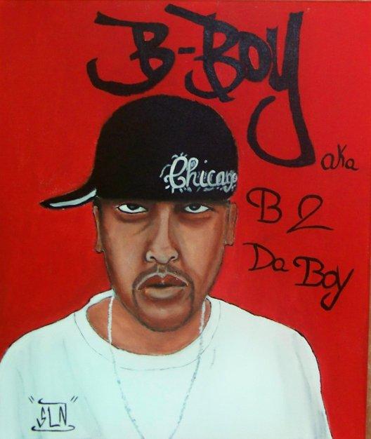 B-BOY fait a la Peinture. Septembre 2010.  Sur commande .