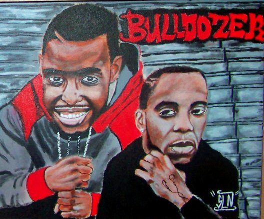 BULLDOZER fait a la peinture. Septembre 2010. Groupe Hip Hop Français