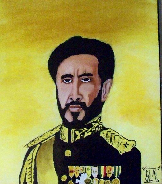 SELASSIE I fait a la Peinture.Octobre 2010. Jah Rastafari