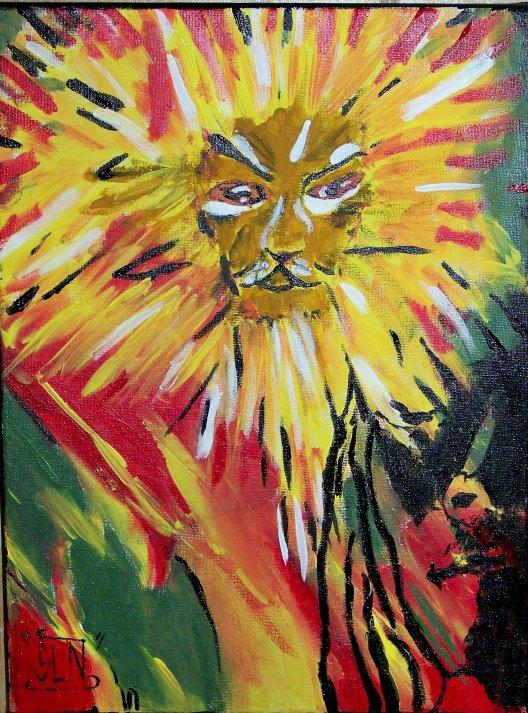 LION in LIGHT fait a la Peinture. Novembre 2010.