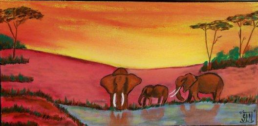 Paysage ELEPHANT Africa fait a la peinture. Décembre 2010.
