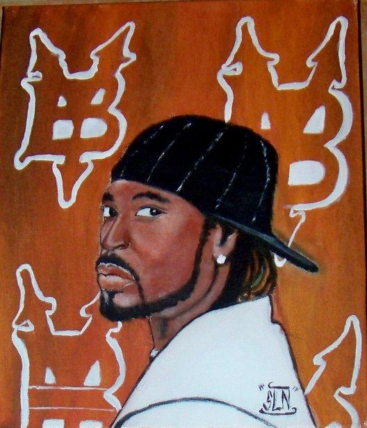 YOUNG BUCK fait a la Peinture. Décembre 2010. Artiste Hip Hop US.