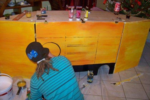 """(Fresque) Meuble de DJ Customisé """" GHETTO-BLASTER"""" fait a la Peinture. Décembre 2010."""