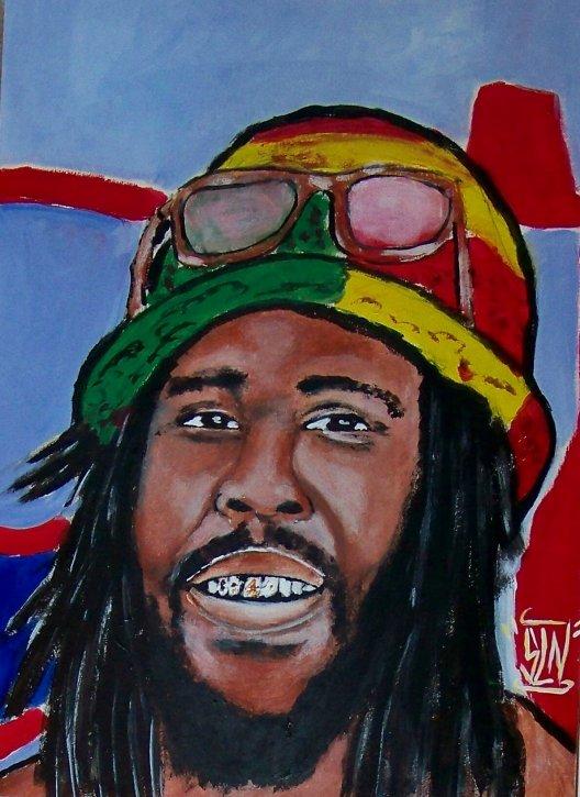 BIG YOUTH fait a la Peinture. Janvier 2011. Artiste Reggae JA