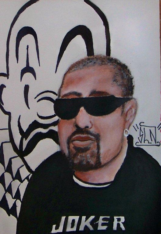 B-REAL fait a la Peinture. Janvier 2011. Artiste Hip Hop US.