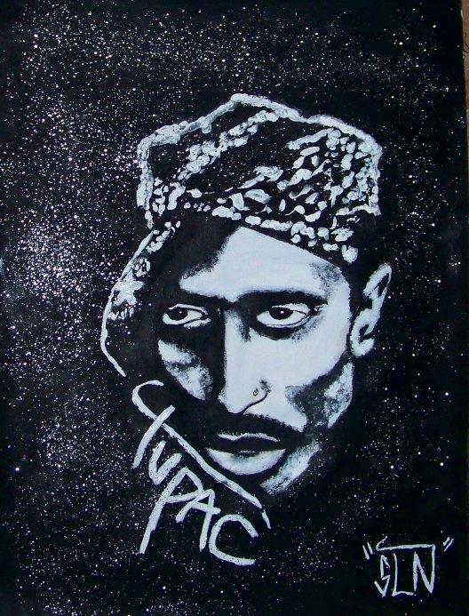 TUPAC fait a la Peinture. Janvier 2011. Legend